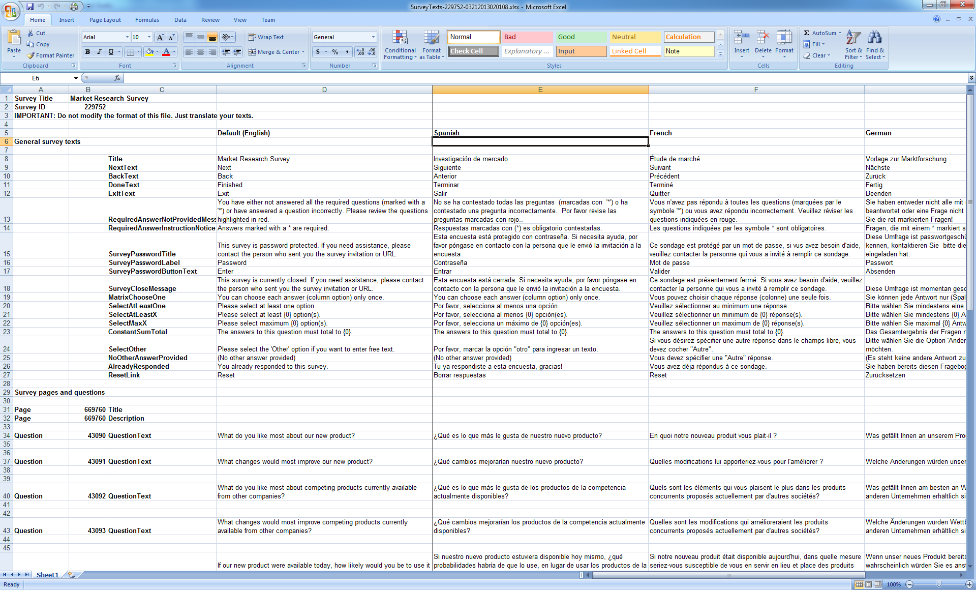 Multi Language Surveys Online Surveys In Multiple Languages Multi Language  Excel Export Tutorial MultiLanguageSurveysaspx. Sample Survey Templates